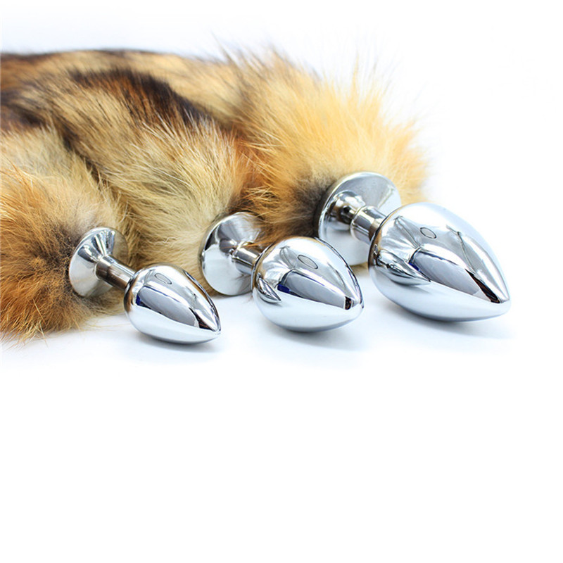 S M L 3 Different Size Metal Real Hair Fur Fox Tail Butt Plug Sex Bdsm Bondage Set Anal Plug Toys For Women Erotic Adults Games