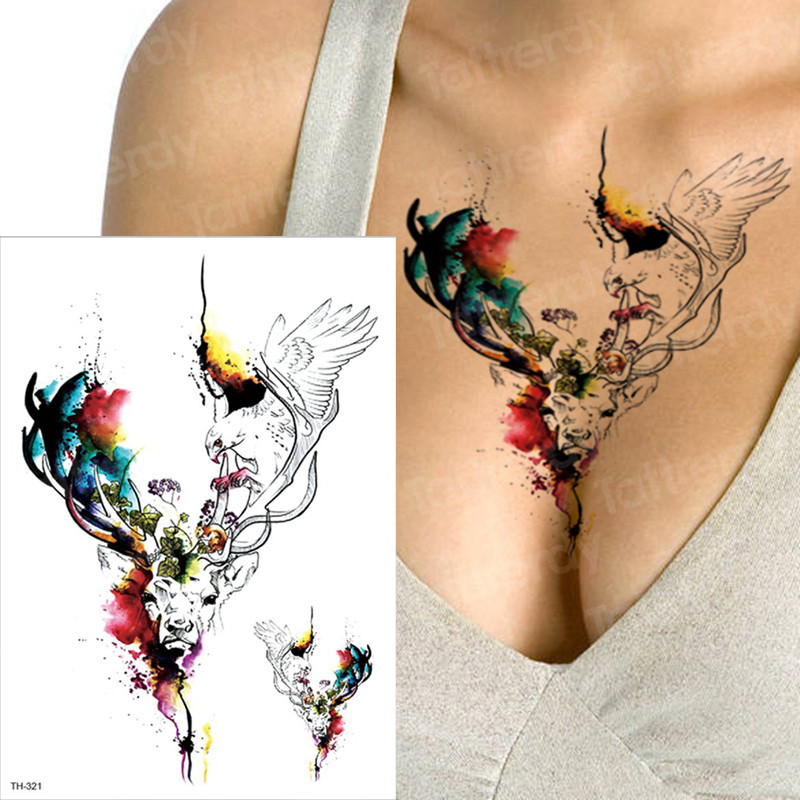 Us 109 30 Offtattoo Body Art Moose Tattoos Water Color Sexy Tatoo Women Bust Back Summer Tattoo Watercolor Angel Wings Tattoos Fake Girls In