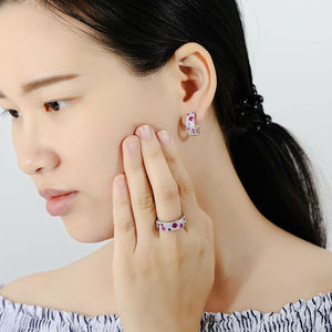 Image 4 - SANTUZZA ensemble de bijoux en argent Sterling 925 pour femmes, pierres rouges scintillantes, ensemble de boucles doreilles, bijoux fantaisie