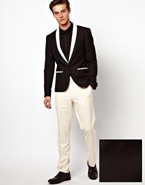 Online Buy Wholesale white tuxedo jacket black lapel slim fit from