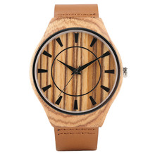 Creative Classic Wood Watch Men Top Analog Handmade Bamboo Women Watches Novel Bangle Genuine Leather Strap Nature Clock 2017