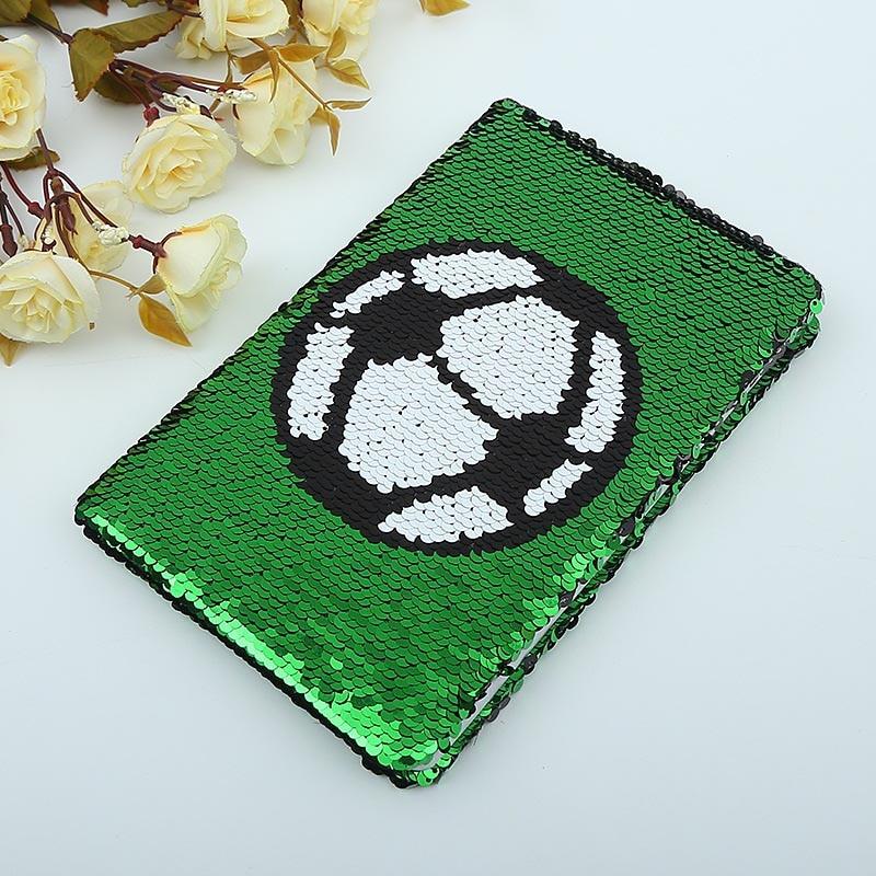 1 pcs Futebol Criativo Carta Lantejoulas Notebook Papelaria Moda Escritório Presente Do Negócio de Papelaria 78 Folhas Diário Memos Notepad