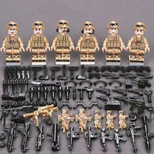 6Pcs SWAT Military Army figures Special Forces Team Soldier Weapon Gun Building Blocks Brick  Compatible With Legoed