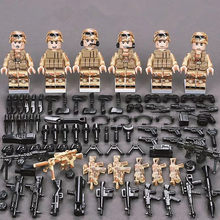 6Pcs SWAT Military Army figures Special Forces Team Soldier Weapon Gun Building Blocks Brick Compatible With Legoed(China)