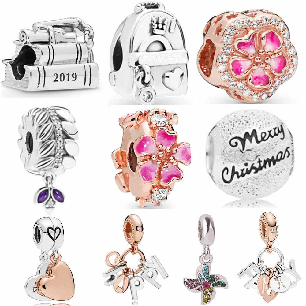 Ranqin New Hot Fashion DIY Bead Fit Pandora Charm Necklace Bracelet Elegant Flower Backpack Book Camera Windmill Rose Silver