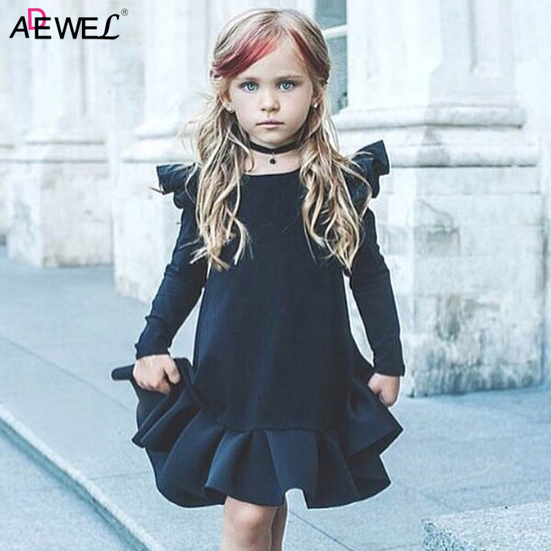 ADEWEL New Girls Dress 2018 Autumn Long Fly Sleeve Children Princess Clothing Solid O-neck Kids Dresses for 1 2 3 4 5 Years Girl 2018 summer girls teens party dress petal sleeve o neck children kids dress for girl 12 years old lace net yarn princess dresses