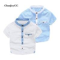 Chanjoycc الصيف تصميم جديد الفتيان قميص الأزياء عالية الجودة القطن عارضة قصيرة الأكمام رفض طوق مع جيب لينة قميص