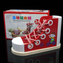 Free delivery, the baby shoe laces, wooden childrens educational toys, early enlightenment training toy,The shoes