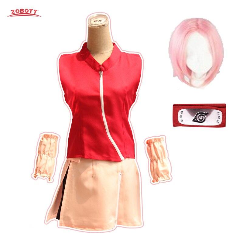 Костюм для косплея Наруто, Харуно, Сакура, аниме, Наруто, костюм женский для праздника Хэллоуин, одежда, короткие розовые парики и повязки на ...