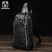 McParko جلد طبيعي حقيبة صدر للرجال حقيبة الكتف للرجال التمساح الحبوب تصميم حقائب كروسبودي الرجال موضة جلد البقر الكستناء الأسود