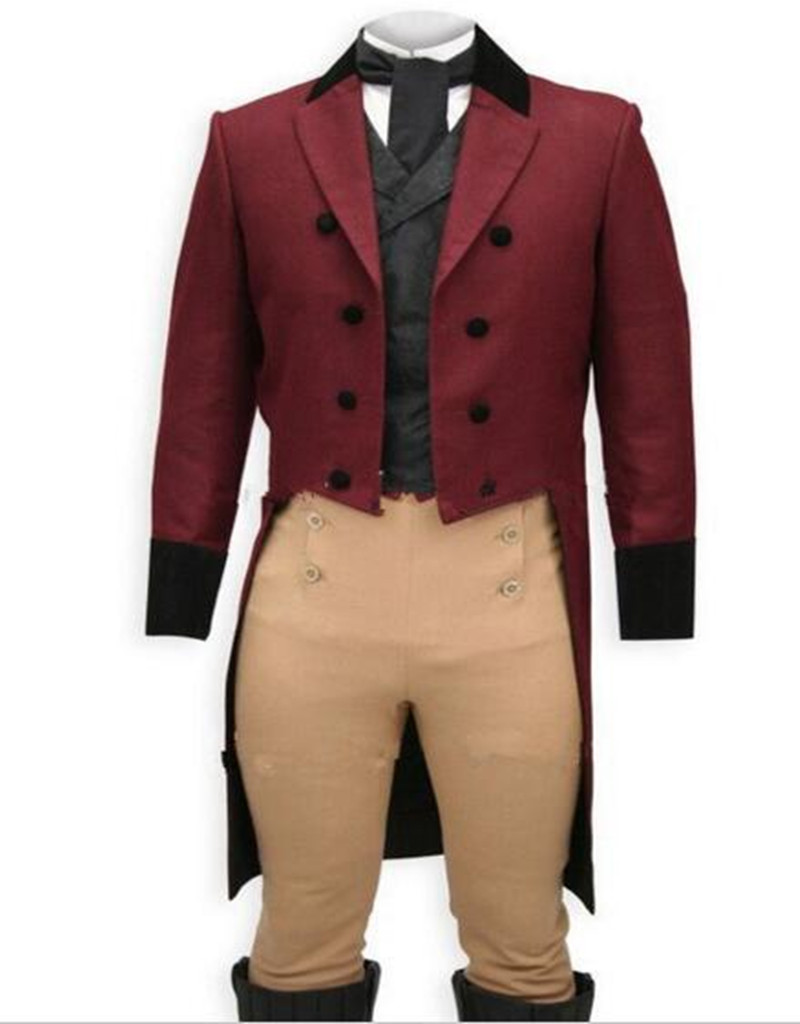 Custom Made Wine Tailcoat Slim Fit Suits Men Tan Pants Black Vest,Bespoke Long Tail Tuxe ...