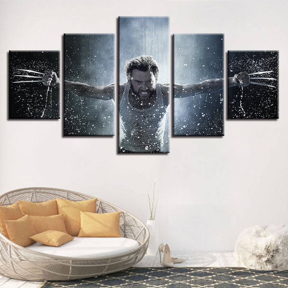 Home Decoration Wall Art Poster Modern 5 Panel Wolverine Character ...