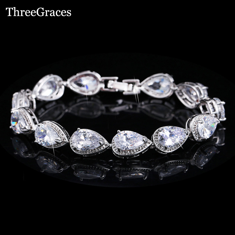 ThreeGraces Luxury Bridal Party Jewelry Oval Shape Fully Around Cubic Zirconia Crystal Wedding Bracelets For Brides BR017