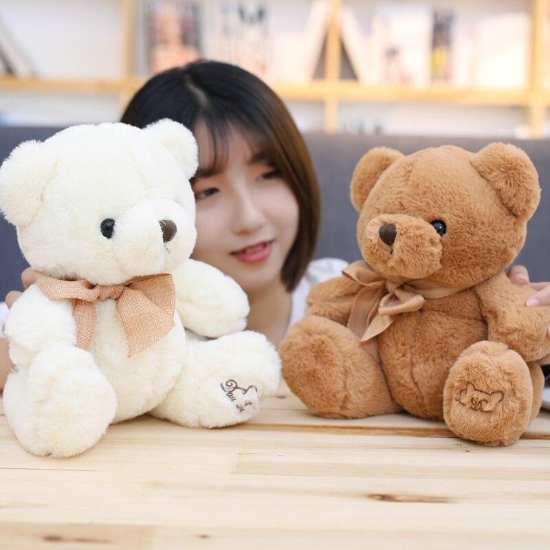 20CM White Brown Teddy Bear Stuffed Animal Toys Soft Bear Doll Birthday Gifts for Kids