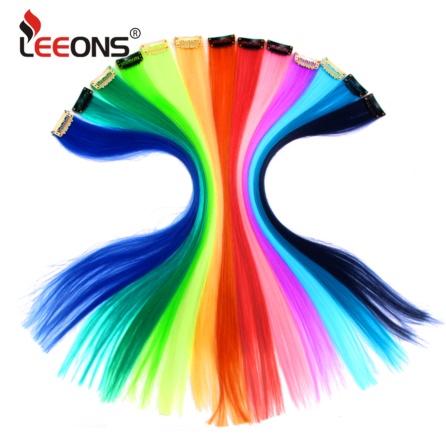 Leeons Synthetic Hair Extensions With Clips Heat Resistant Straight Hair Extensions Color Colored Black Hair Clip Womens 12G/Pcs
