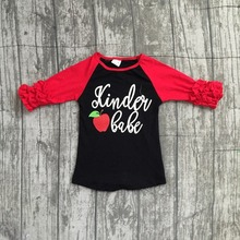 dda87d9419d9 2018 new arrival baby girls kinder babe boutique top shirts red black apple  t-shirt