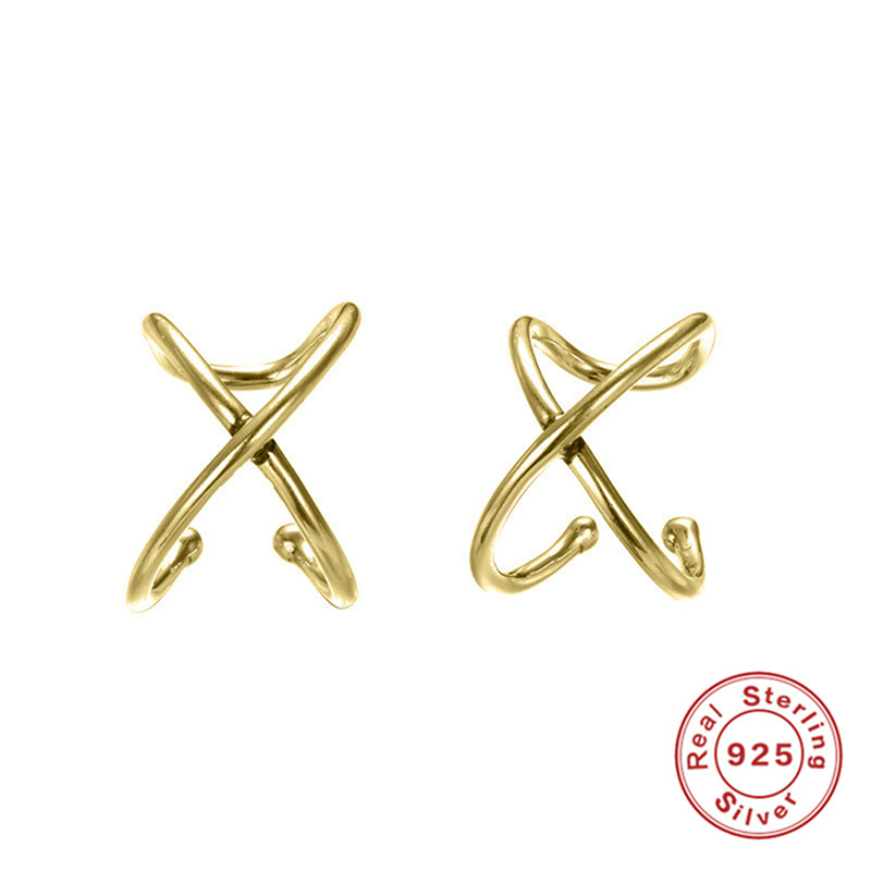 Fashion 925 Sterling Silver Earrings For Women Cartilage Ear Jewelry Clip Simple Clip On Earring No Piercing Jewelry in Clip Earrings from Jewelry Accessories