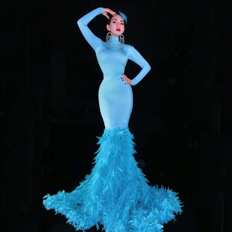 Mode cristaux maille robe strass Sexy Stretch scène danse porter soirée célébrer franges robe Costume
