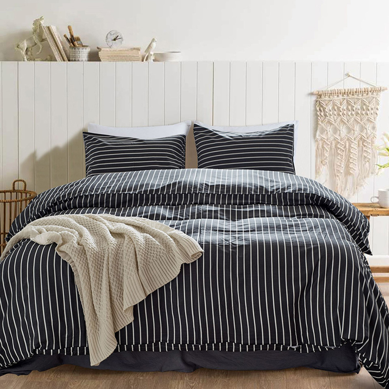 EHOMEBUY 2018 Modern Bedding Sets Striped Quilt Cover Pillowcases 3 Pieces Bedding Sets Winter Spring Bedroom