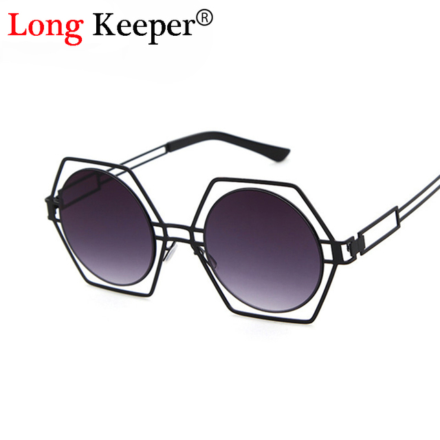 a693e57474 Long Keeper Latest Personality Dazzle Sunglasses Hexagon Frame Round Lens  Hollow Out Sun glasses Women Gafas