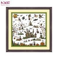 NKF BỘ 14CT 11CT Tính và Đóng Dấu Các Phù Thủy Lâu Đài Vá Mũi Kim Embroidery TỰ Cross Stitch bộ dụng cụ cho Trang Trí Nội Thất C603