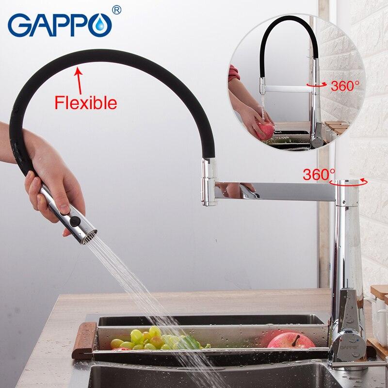 GAPPO Robinets De Cuisine noir chrome mélangeur de cuisine robinet robinet mitigeur flexible cuisine évier robinet mélangeur robinets d'eau
