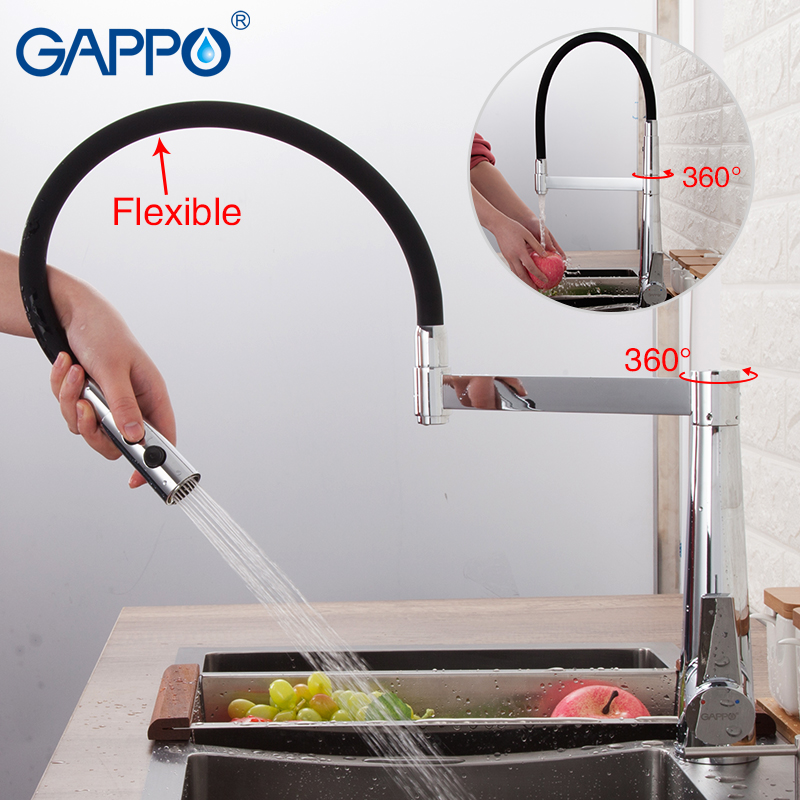 GAPPO Rubinetti Della Cucina nero cromo miscelatore da cucina rubinetto rubinetto singola maniglia flessibile kitchen sink rubinetto miscelatore acqua rubinetti
