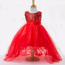 2016 Summer New 2-12Y Red Flower Girl Dresses Long Tail for Party  Wedding Bridesmaid Sequins First Communion Dresses for Girls