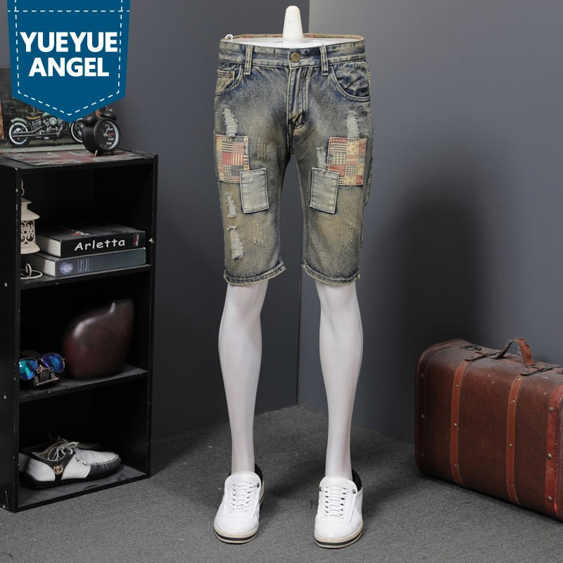 Vintage Hole Ripped Patchwork Mens Straight Casual Shorts Harajuka Loose Fit Knee Length Plus Size 28-40 Streetwear Male Shorts
