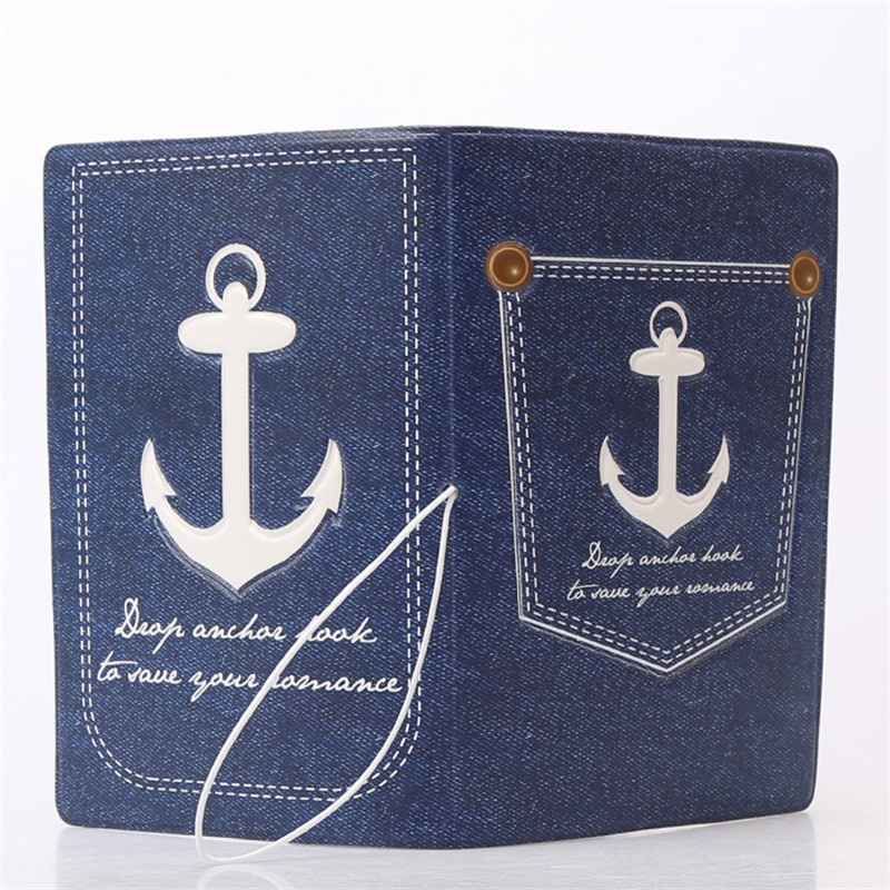 Denim Anchor 3D Design Fashion Passport Holder Cover ID Package Travel Accessories Ticket Protective Case Gift