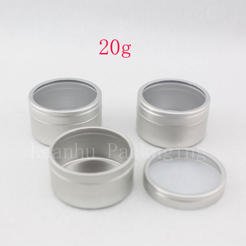 20g X 100 empty cream aluminum containers with window lid lipstick containers cream jars aluminum cosmetic