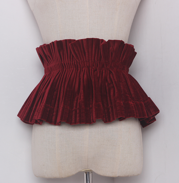 Women's Runway Fashion Vintage Elastic Velvet Cummerbunds Female Dress Coat Corsets Waistband Belts Decoration Wide Belt R1206