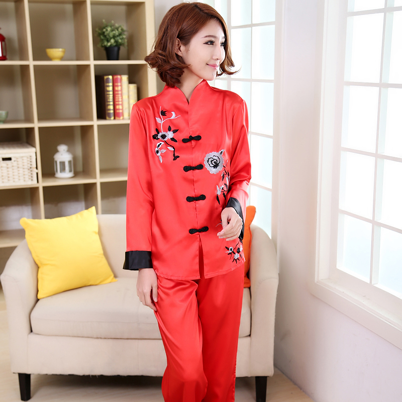 Plus Size XXXL Lady Sexy Rayon Pyjamas Suit 2 pcs Shirt  Pant Sleepwear  Novelty Embroidery Chinese Women Pajama Set Flower -in Pajama Sets from  Underwear ... f089a22c4