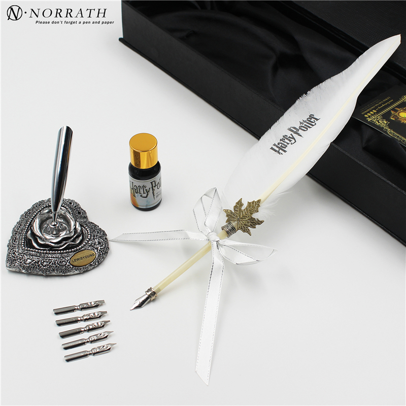 все цены на Harry Potter White Owl Vintage Feather Fountain Pen Iuxury Gift Box Quill Ink Pen Pen Rack 5 Nibs Signature Pen Stationery Set