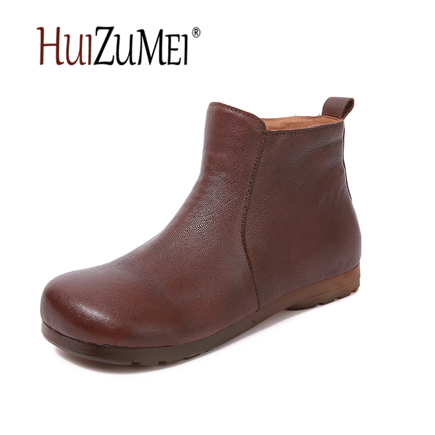 HUIZUMEI new casual genuine leather women's boots autumn shoes handmade retro female round toe original ankle ladies boots huizumei new genuine leather women s boots autumn and winter shoes retro handmade round toe soft bottom rubber ankle ladies boot