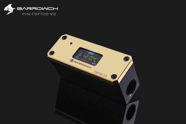 Barrowch FBFT02-V3, измеритель температуры охлаждения воды, многомодовый OLED цифровой смарт-дисплей, температура в реальном времени - Цвет лезвия: Gold Panel