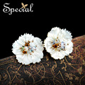 Special New Fashion Natural Opal Stud Earrings Sea Shell Flower Earrings Vintage Jewelry Gifts for Women ED151212