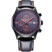 High Quality Original Brand Leather Dress Mens Watch Men RED Chronograph Hours Water Resistant