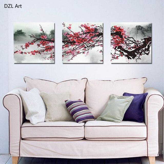 3 Piece Purple Cherry Blossom Muti Panel Abstract Modern: Unframed 3 Sets Red Plum Blossom Flowers Painting Art