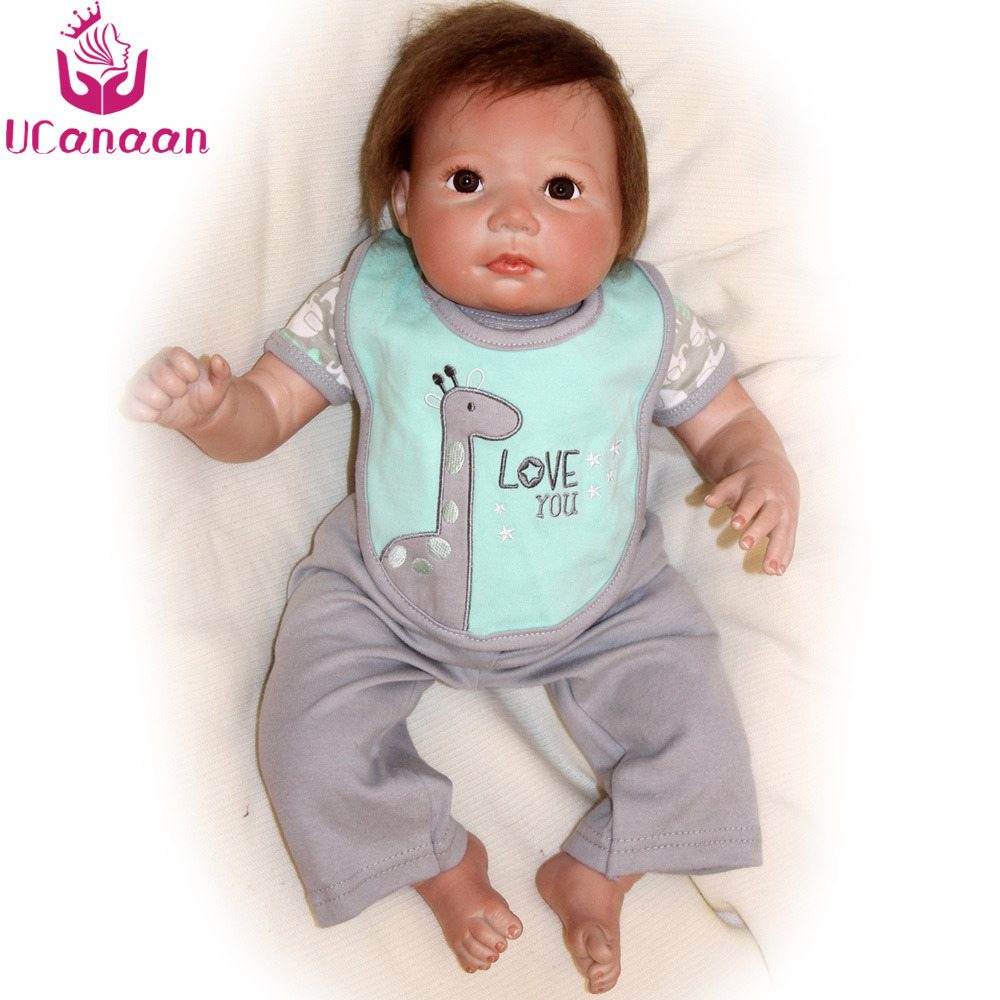 UCanaan 20'' 50CM Soft Silicone Doll Reborn Brown Eyes Cloth Body Toys For Children Baby Alive Born Dolls For Girls Collection ucanaan 55cm hair rooted cloth body reborn doll soft silicone brown eyes toys for girls baby alive new born kawaii kids toys