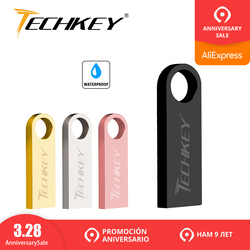new TECHKEY usb flash drive 64GB 32GB 16GB 8GB 4GB pen drive pendrive waterproof metal silver u disk memoria cel usb stick gift