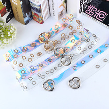 Fashion Color Transparent Women Belt Heart Round Pin Buckle Casual Belts Personality Creative Girl Waistband For Jeans Pants Z30