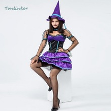 Witch Costume Halloween Purple Lovely Small Witch Cosplay Costumes Dress+Hat Party Carnival Stage Women Dresses Clothing цена