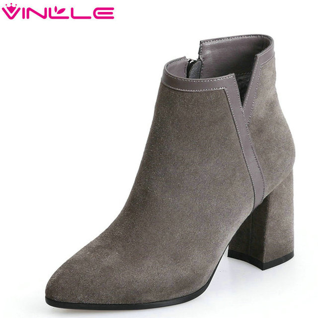 VINLLE 2019 Women Ankle Bootselegant Casual Square High