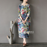 2018 New Fashion Women Summer 3/4 Sleeve Dress Plus Size Loose Casual Vintage Printed Floral Linen Dress Long Party Dresses