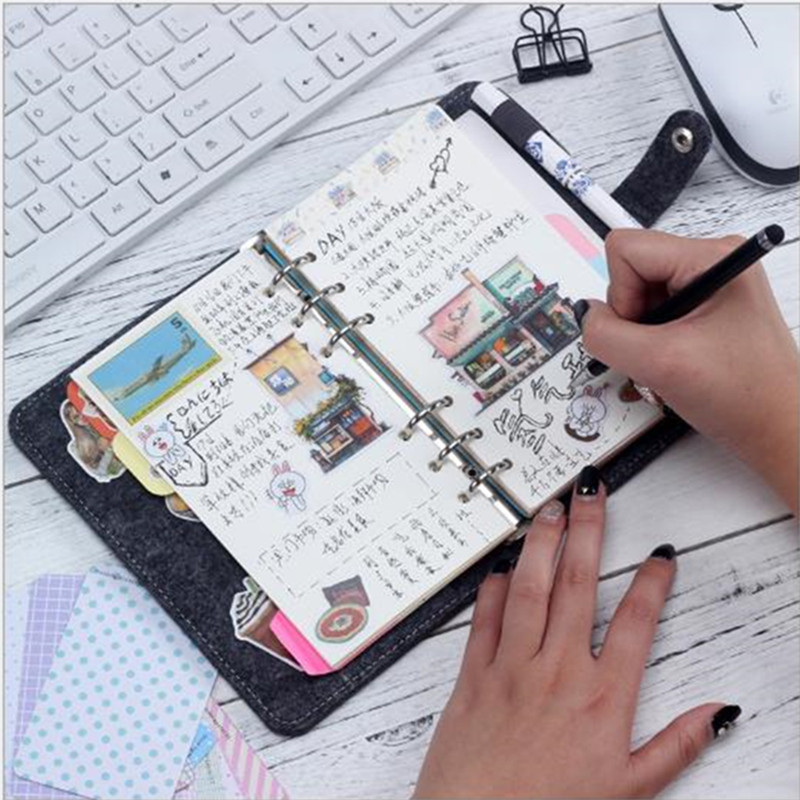 Japanese Personal Dairy Felt With Pu Leather Travel Journal Golden Ring Office Binder Notebook Cute Kawaii Agenda Planner A6