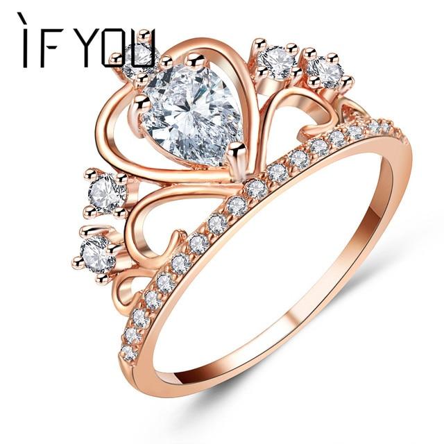 IF YOU Princess Queen Tiara Crown Rings For Women Rose Gold Color CZ Cubic Zirco