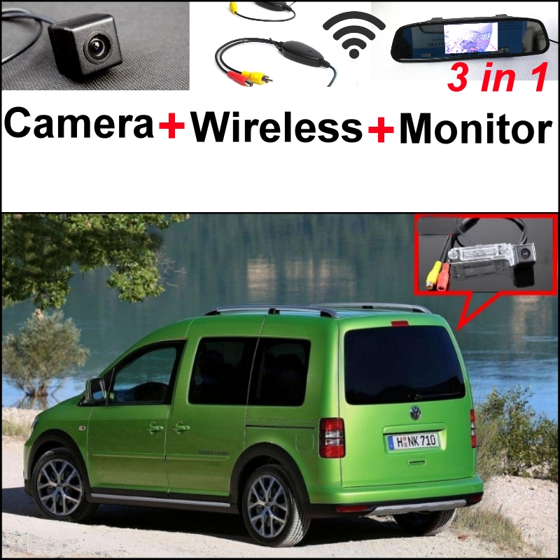 3 in1 Special Rear View Camera + Wireless Receiver + Mirror Monitor Easy Backup Parking System For Volkswagen VW Caddy 2K MK2