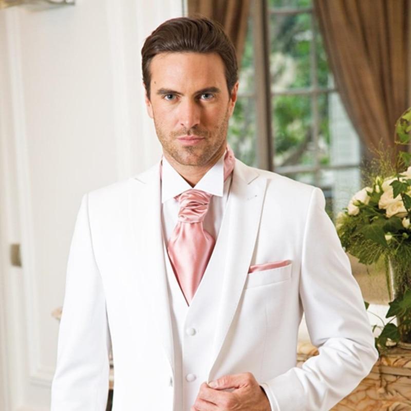 2019 New White Slim Fit Wedding Suits For Men Formal Men Suit Peaked Lapel Grooms Tuxedos Terno Suit Men(Jacket+Pants+Vest)