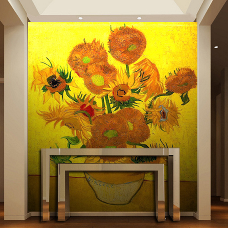 custom photo wall murals home decor living room wallpaper 3d Sunflower oil painting photo mural wall papers custom any size shinehome sunflower bloom retro wallpaper for 3d rooms walls wallpapers for 3 d living room home wall paper murals mural roll